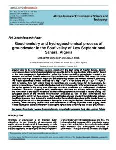 Geochemistry and hydrogeochemical process of groundwater in the ...