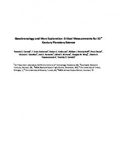 Geochronology and Mars Exploration: Critical Measurements ... - mepag