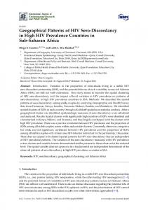 Geographical Patterns of HIV Sero-Discordancy in High HIV ... - MDPI