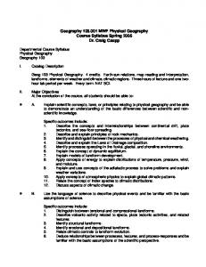Geography 103.001 MWF Physical Geography Course Syllabus ...