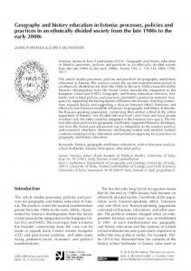 Geography and history education in Estonia - Fennia (journal)