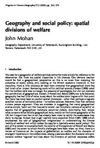 Geography and social policy: spatial divisions of welfare - CiteSeerX