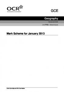 Geography Mark Scheme for January 2013