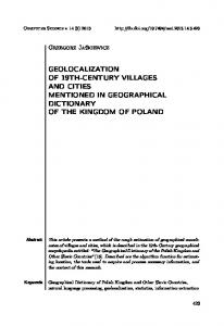 geolocalization of 19th-century villages and cities ... - Semantic Scholar