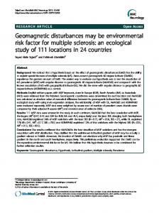 Geomagnetic disturbances may be environmental ... - BioMedSearch