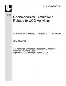 Geomechanical Simulations Related to UCG Activities - Lawrence ...