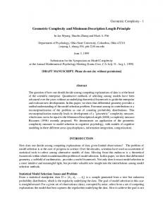 Geometric Complexity and Minimum Description Length ... - CiteSeerX