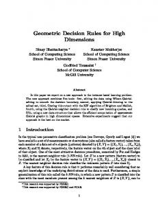 Geometric Decision Rules for High Dimensions - Computational ...