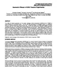 Geometric Effects in DCDC Fracture Experiments - Society for ...