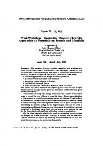 Geometric Measure Theoretic Approaches to ... - MFO, Oberwolfach