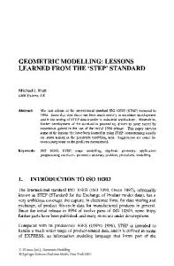 GEOMETRIC MODELLING: LESSONS LEARNED FROM THE 'STEP