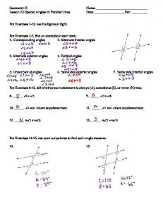 Geometry H Name: Lesson 2.6 Special Angles on Parallel Lines ...