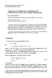 Geometry of optimality conditions and constraint
