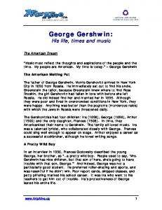 George Gershwin: His life, times and music