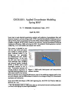 GEOS-5311: Applied Groundwater Modeling Spring 2010