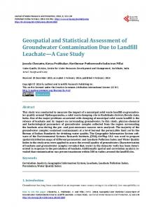 Geospatial and Statistical Assessment of Groundwater Contamination ...