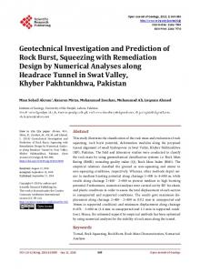 Geotechnical Investigation and Prediction of Rock Burst, Squeezing