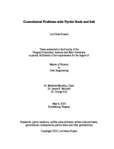 Geotechnical Problems with Pyritic Rock and Soil