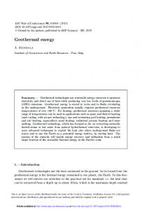 Geothermal energy - EPJ Web of Conferences