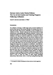 German Active Labor Market Policies: The Use of Job Creation and ...