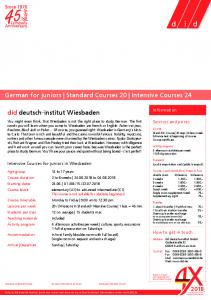 German for juniors | Standard Courses 20 | Intensive Courses 24 did ...