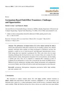 Germanium Based Field-Effect Transistors: Challenges and ... - MDPI