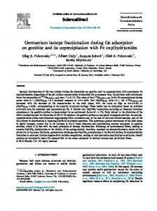 Germanium isotope fractionation during Ge adsorption on goethite ...
