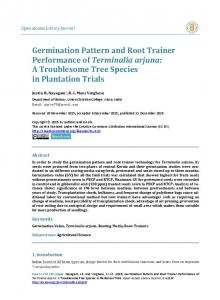 Germination Pattern and Root Trainer Performance of Terminalia arjuna