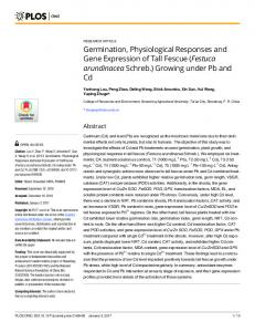 Germination, Physiological Responses and Gene Expression ... - PLOS