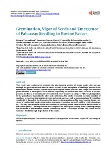 Germination, Vigor of Seeds and Emergence of Fabaceae Seedling in ...