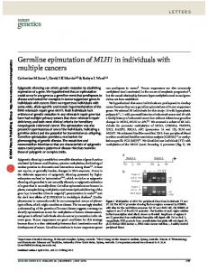 Germline epimutation of MLH1 in individuals with multiple ... - Nature