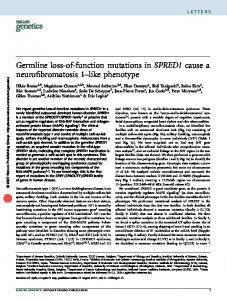 Germline loss-of-function mutations in SPRED1 cause a ... - Lirias