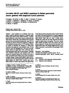 Germline MLH1 and MSH2 mutations in Italian pancreatic cancer ...