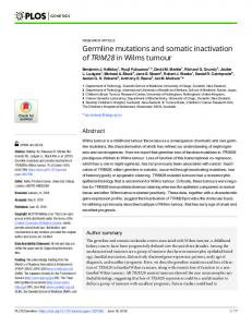 Germline mutations and somatic inactivation of TRIM28 in ... - PLOS