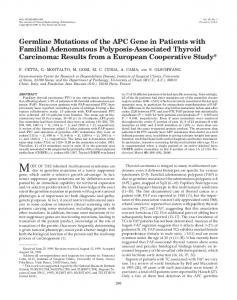 Germline Mutations of the APC Gene in Patients with Familial