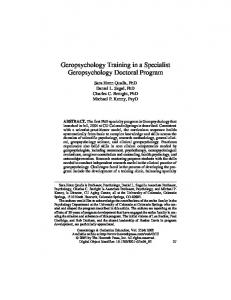Geropsychology Training in a Specialist Geropsychology Doctoral ...