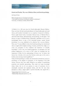 Gestalt and Totality. The case of Merleau-Ponty and Gestalt ...