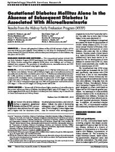 Gestational Diabetes Mellitus Alone in the Absence of ... - Diabetes Care