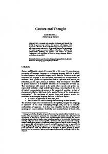 Gesture and Thought - Semantic Scholar