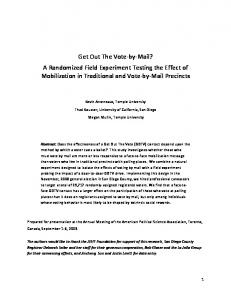 Get Out The Vote-by-Mail? A Randomized Field Experiment ... - SSRN