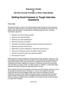 Getting Good Answers to Tough Interview Questions, Sixth Edition