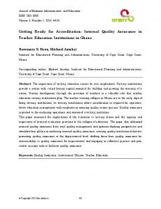 Getting Ready for Accreditation: Internal Quality Assurance in Teacher ...