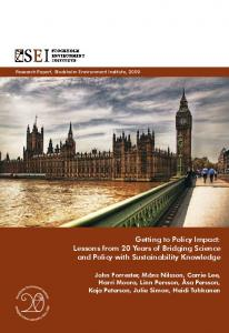 Getting to Policy Impact - Stockholm Environment Institute