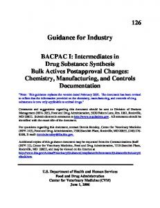 GFI #126 - BACPAC I: Intermediates in Drug Substance Synthesis