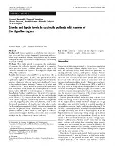 Ghrelin and leptin levels in cachectic patients with ... - Springer Link