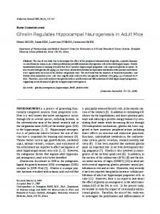 Ghrelin Regulates Hippocampal Neurogenesis in Adult Mice - J-Stage