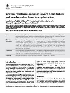Ghrelin resistance occurs in severe heart failure ... - Wiley Online Library