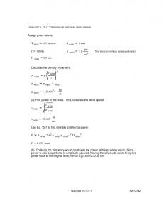 Giancoli Ch 15-17 Vibrations on steel wire under tension. Assign ...