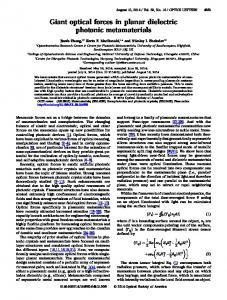Giant optical forces in planar dielectric photonic ... - Semantic Scholar
