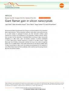 Giant Raman gain in silicon nanocrystals - Nature